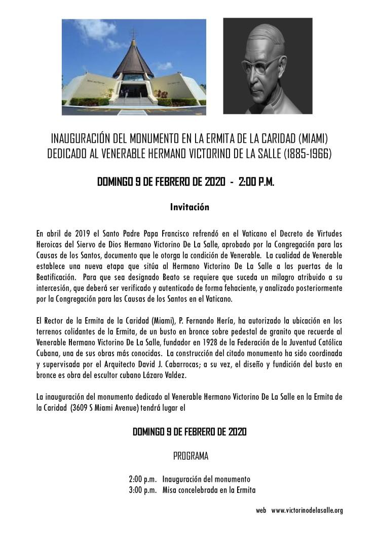 Invitación - Inauguraciòn Monumento Victorino 2020